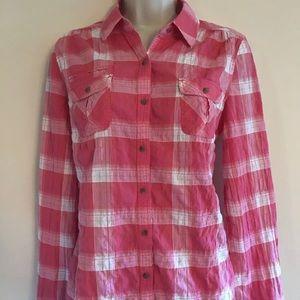 Express small plaid pink button down shirt